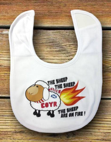"Newborn Baby Bib - ""The Sheep Are On Fire"""