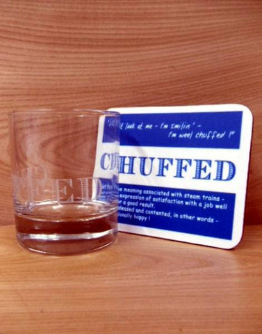 Coaster & Dram Glass Scottish Dialect Word (Chuffed)
