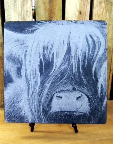 Scottish Highland Cow Slate Plaque & Stand