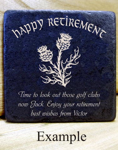 Personalised  Message Coaster HAPPY RETIREMENT