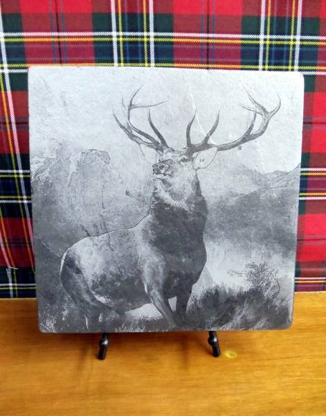 Monarch of the Glen Slate Plaque & Stand