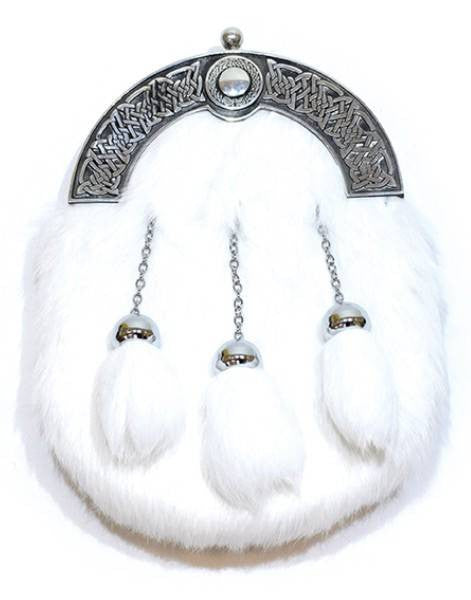 White Rabbit Fur Sporran & Chain Strap