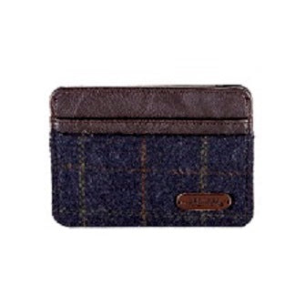 Heritage Card Holder- Blue Check/Brown