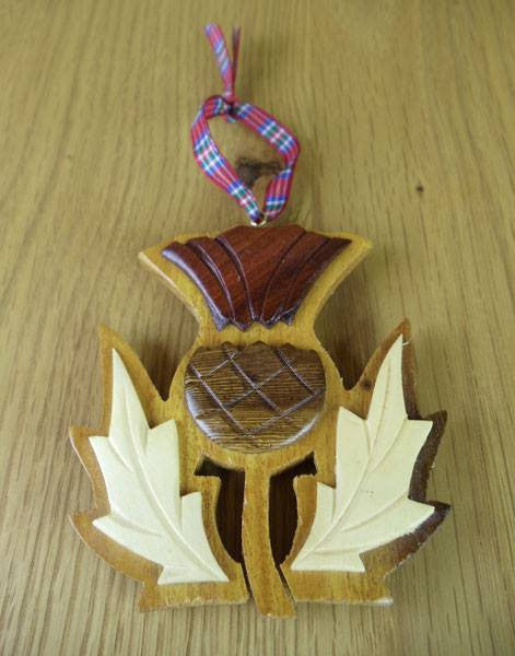 Wooden Scottish Thistle Hanging Ornament