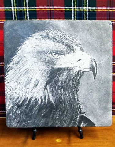 Scottish Golden Eagle Slate Plaque & Stand