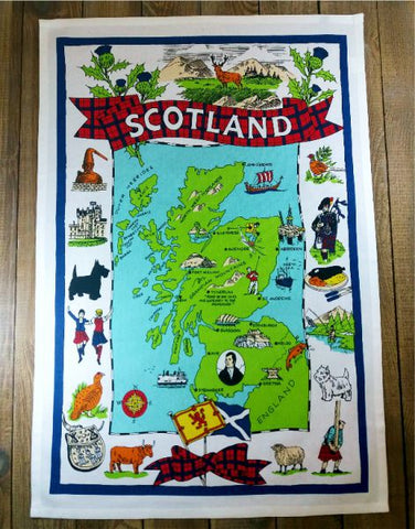 Scotland Map & Famous Icons Tea Towel