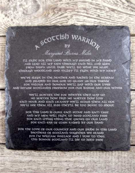 A Scottish Warrior Slate Wall Plaque