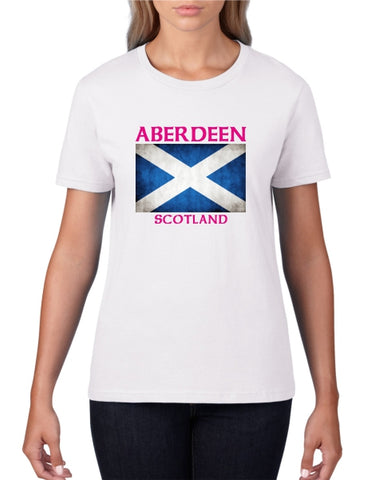 Aberdeen Scotland Saltire Ladies T-Shirt (crew neck)