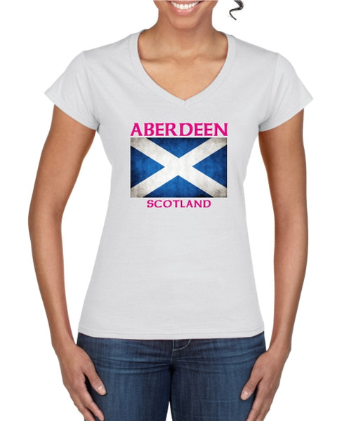 Aberdeen Scotland Saltire Ladies T-Shirt (V neck)