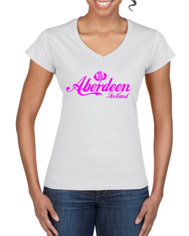 Aberdeen Scotland Thistle Cola Ladies T-Shirt (V neck)
