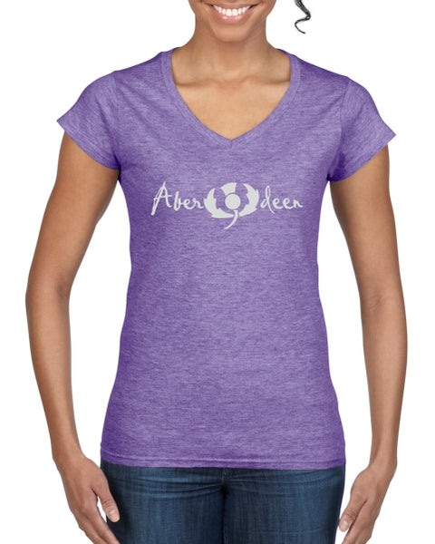 Aberdeen Thistle Ladies T-Shirt (V neck)