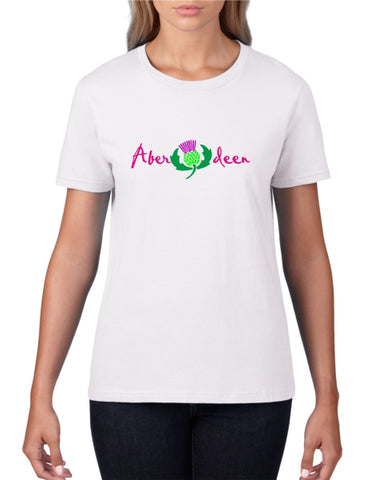 Aberdeen Scotland Thistle Ladies T-Shirt (crew neck)