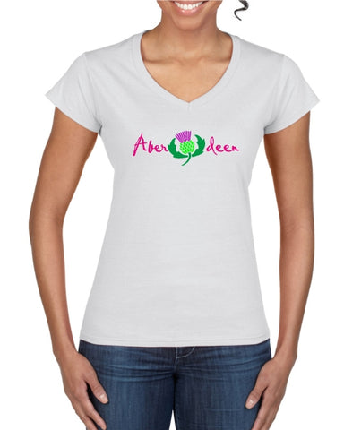 Aberdeen Scotland Thistle Ladies T-Shirt (V neck)