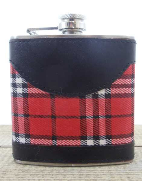 Stewart Royal with Leather Trim Tartan Hip Flask - 6oz