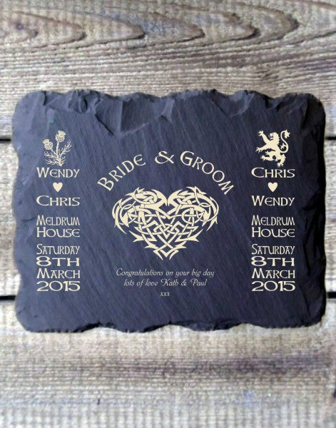 Personalised Bride & Groom Slate Wall Plaque