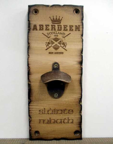 Wooden Plaque Bottle Opener - Aberdeen Scotland