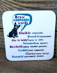 Braw Aberdeen Words Coaster