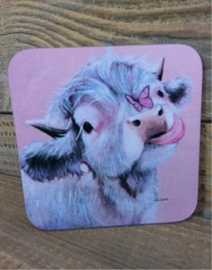 Highland Cow Coaster - Fluttering By
