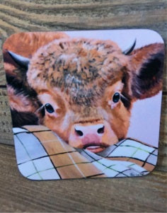 Highland Cow Coaster - Sleeping Beauty