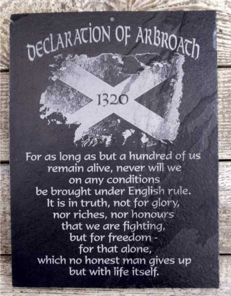 Declaration of Arbroath Saltire Slate Wall Plaque