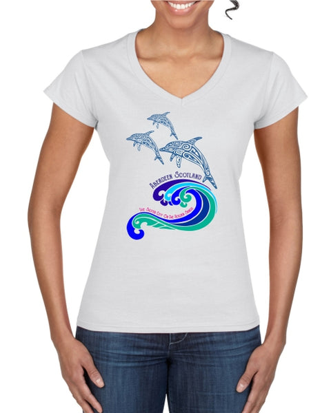 Dolphins Ladies T-Shirt (V neck)