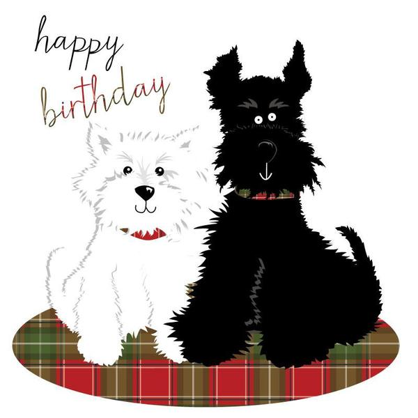 Happy Birthday Card Two Dogs Scotlands Bothy