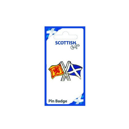 Lion and Saltire Flags Pin Badge