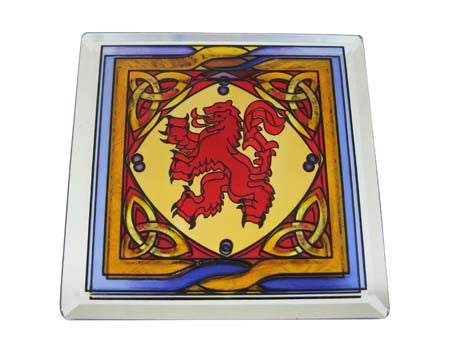 Stained Mirror Scottish Rampant Lion Coaster