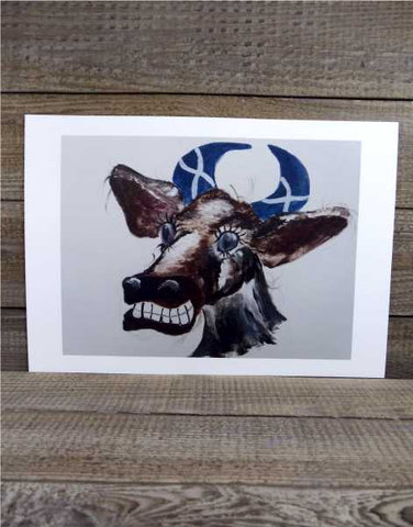 """Saltire Moo"" Print by Margaret Burns Miles"