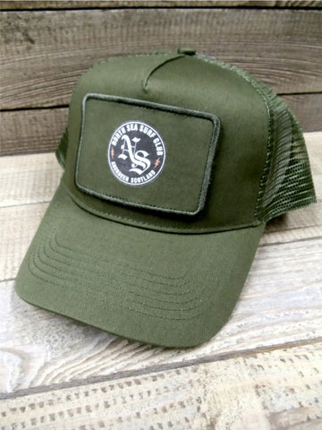 North Sea Surf Club Aberdeen Scotland Trucker Patch Cap Military Green