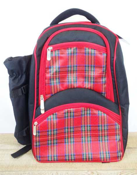 Red Tartan Picnic Back Pack