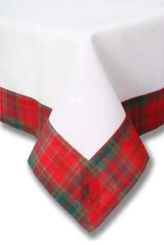 "Scottish Plaid Tablecloth with White Centre 34"" x 34"""