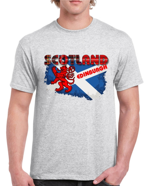 Scotland Saltire EDINBURGH Tartan Text T-Shirt