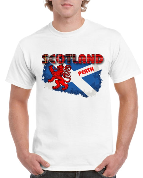 Scotland Saltire PERTH Tartan Text T-Shirt