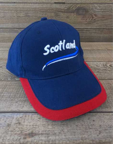Scotland Baseball Cap - Navy Red Trim