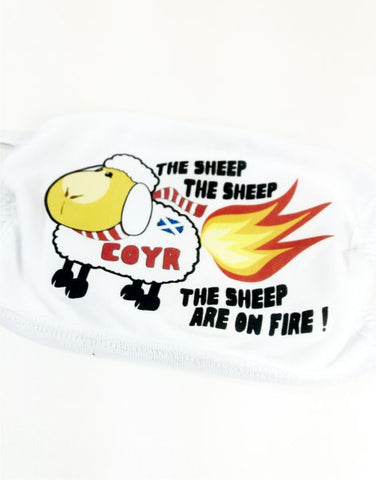 Sheep On Fire Face Mask (large design)