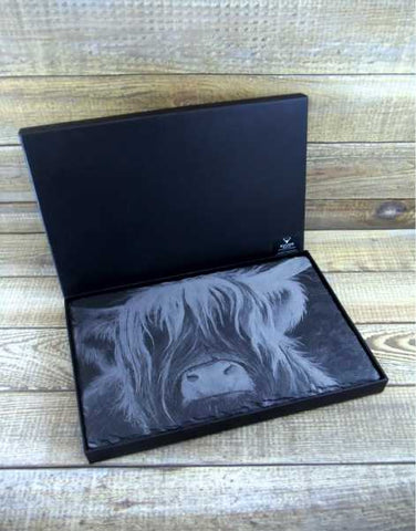 Highland Cow Slate Cheese Platter & Presentation Box