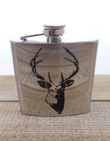 Stainless Steel Stags Head 6oz Hip Flask
