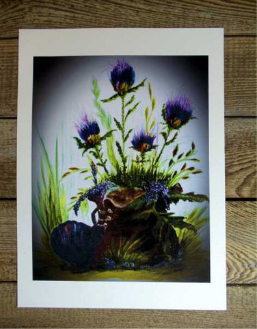 Scottish Thistle Boot Print by Margaret Burns Miles