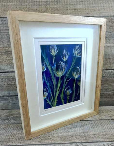 """Thistles"" Original Painting Mixed Media by Margaret Burns Miles"
