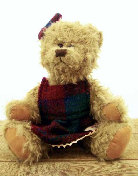 Girl Teddy Bear in Harris Tweed Dress