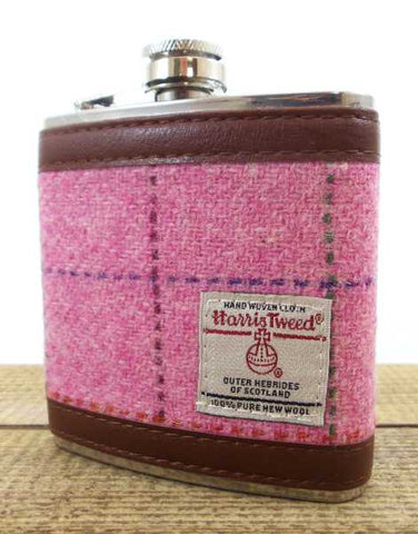 Harris Tweed Hip Flasks 6oz - Pink
