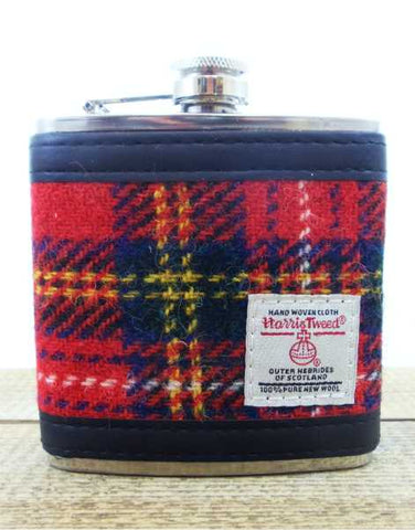 Harris Tweed Hip Flask 6oz - Stewart Royal