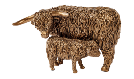 Bronze Effect  Highland Cow Mother & Calf