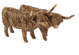 Bronze Effect Highland Cow Couple