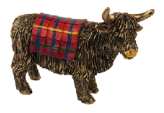 Bronze Highland Cow with a Touch of Tartan Figurine