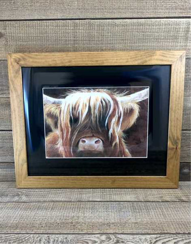 """Wee Heilan Coo"" Framed Print by Margaret Burns Miles"