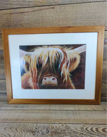 """Wee Heilan Coo"" Framed Print by Margaret Burns Miles (white mount)"