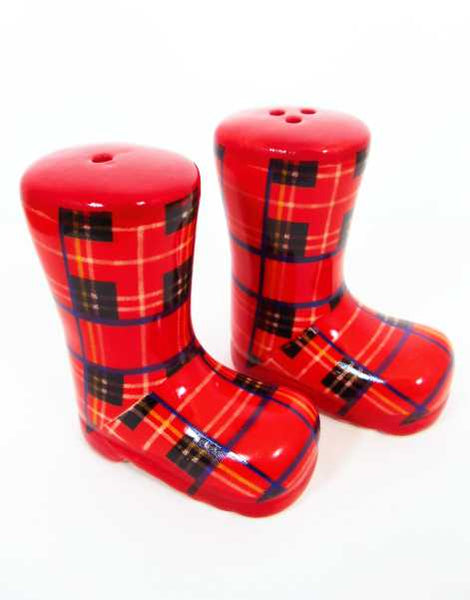 Tartan Welly Boots Salt & Pepper Set