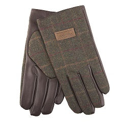 Heritage Traditions Men's Green/Brown Herringbone Tweed Gloves